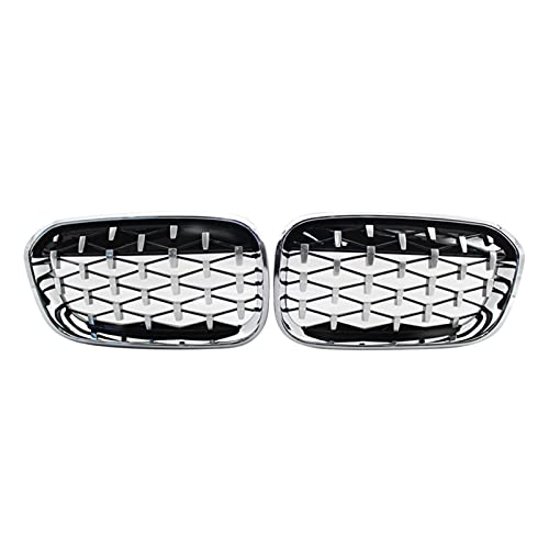 XIAOJIE Piezas exteriores parrilla delantera de riñón, parrilla de diamante de capó frontal, parrilla de meteoros para BMW Serie 1 F20 F21 LCI 2015-2017 Silver Car (Color: Plata)