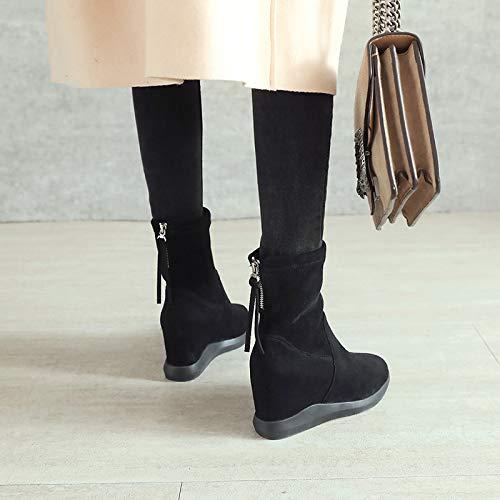 Shukun enkellaarsjes voor dames, 8 cm, Martin laarzen naar herfst en winter, ritssluiting, zwart, korte laarzen, vrouwen, platform, slanke laarzen