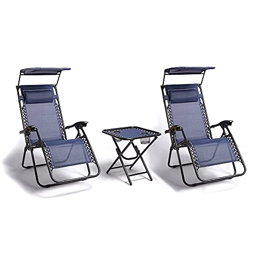 VonHaus Zero Gravity Canopy Chair and Table Set – Reclining Sun Lounger Folding Chairs - Cup Holders, Padded Headrests – Textoline, Steel Frame – Outdoor Garden Furniture for Patio, Balcony - Navy