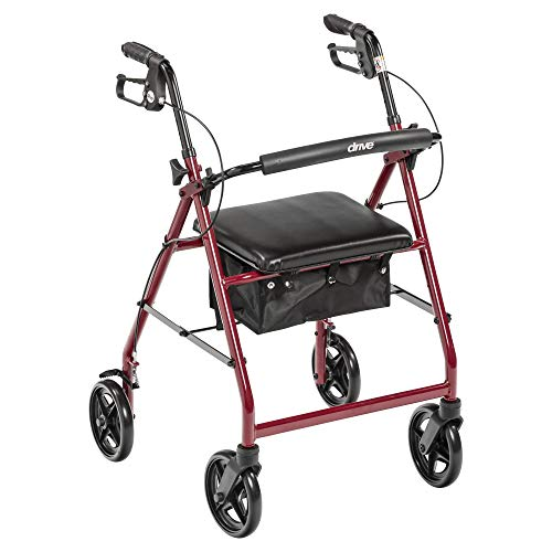 R728RD - Aluminum Rollator with Fold Up and Removable Back Support and Padded Seat, Red by Drive Medical