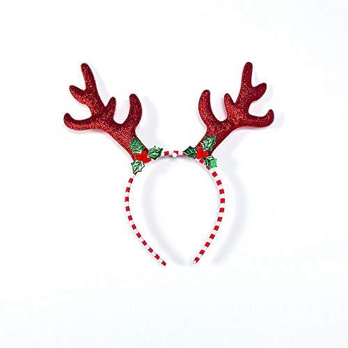 WDJYNL Diadema De,1Pcs Navidad Diadema Accesorios De Ciervo Orejas para Niños Adulto Fiesta De Navidad Santa Navidad Banda De Pelo Cierre Sombrero para Las Vacaciones De Navidad