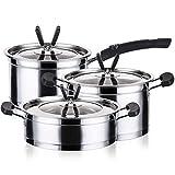 HIZLJJ Acero Inoxidable Conjunto de Utensilios de Cocina - 3 Piezas -Acero Acero Doble Fondo Leche crisol de la Sopa Olla de Cocina Combinación