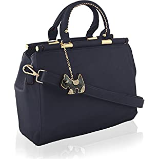 Customer reviews KukuBird Designer Plain Pattern Faux Leather Boutique Totes Handbag with Glitter Dog Pattern Chain Tag - DARK BLUE:Maskedking