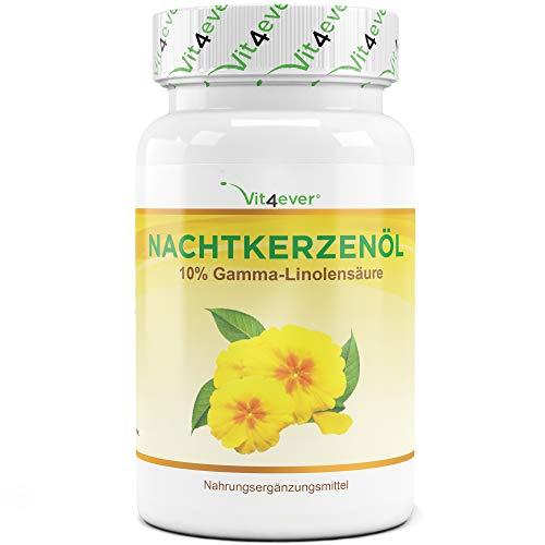 Aceite de onagra - 180 cápsulas - Altamente dosificado con 2000 mg por dosis diaria - Premium: 10% de ácido gamma-linolénico GLA, con vitamina E natural y prensado en frío