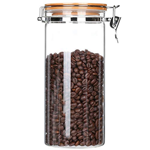 KKC Kaffeedose Luftdicht Glas 500g, Vorratsdose Kaffee Glas, Kaffeebohnen Glasbehälter, Lebensmittel Aufbewahrung Glas mit Deckel für Kaffee Nüsse,1,5 Liter