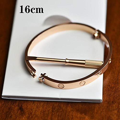 Lnyy Titan Stahl Paar Armband überzogen 18K Rose Gold Persönlichkeit Armband Geschenk