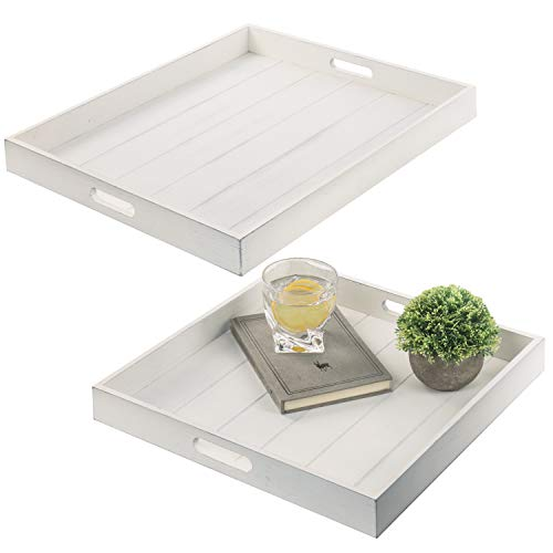 MyGift Vintage White Wood Large Nesting Serving Trays with Cutout Handles Set of 2
