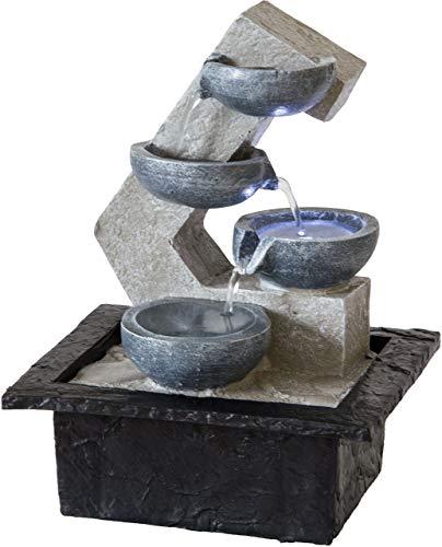 Nativ Zimmerbrunnen mit LED-Beleuchtung, Indoor-Brunnen aus Polyresin mit Pumpe und Beleuchtung, 21,5 x 18,7 x 29 cm, grau