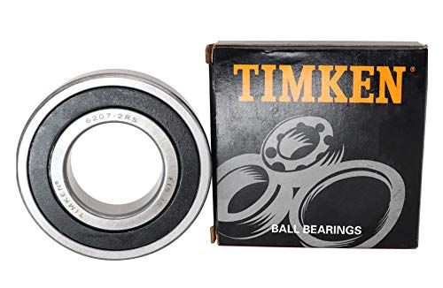 TIMKEN 6207-2RS 2 Pcs Double Rubber Seal Bearings 35x72x17mm, Pre-Lubricated and Stable Performance and Cost Effective, Deep Groove Ball Bearings.