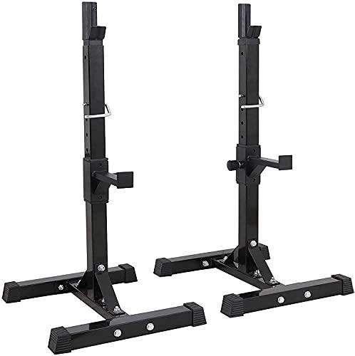 KEYREN Paar Squat-Rack Gewichtheben-Rand-Rack-Rack für Home Fitnessstudio Multifunktions-Tauchstation Squat-Ständer einstellbar Höhen-Hantel-Rack MAX Load 440LBS (Color : Black, Size : A)