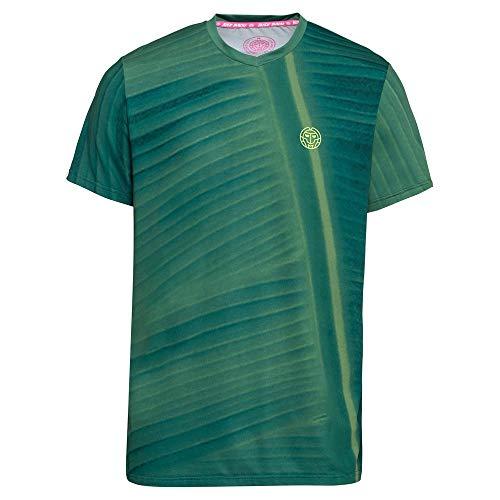 BIDI BADU V-Neck tee Enkil Tech-Camiseta de Cuello de Pico, Hombre, Verde Oscuro, Azul Oscuro, Small