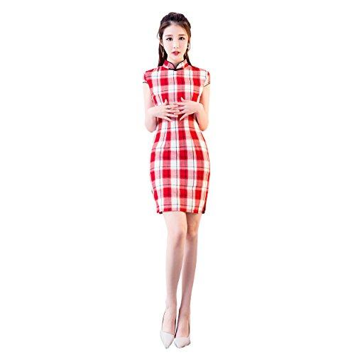 XueXian(TM) Mujer Vestido Cheongsam Corto de Estilo Chino Estampado de Cuadro de Rojo(Rojo,EU 40/China XL:Busto 92CM)