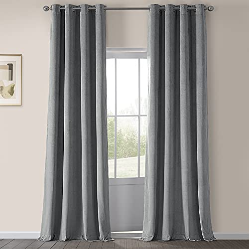 HPD Half Price Drapes VPCH-145002-108-GRBO Signature Grommet Blackout Velvet Curtain (1 Panel), 50 X 108, Silver Grey