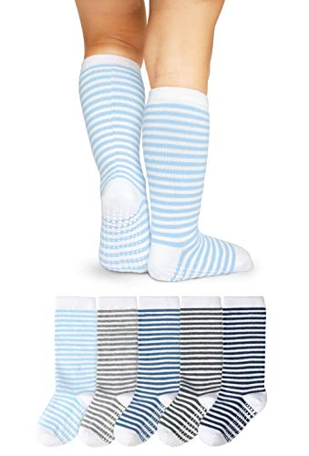 LA Active Baby Kleinkind Grip Kniesocken - 5 Paar - rutschfest (Jungen Streifen, 6-12 Monate)