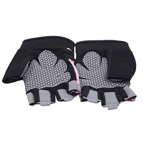 HBWHY Guantes de levantamiento de pesas, guantes de gimnasio con soporte de muñeca, guantes transpirables para hombres y mujeres, ajuste cruzado, ejercicio, ciclismo, entrenamiento, color rosa L