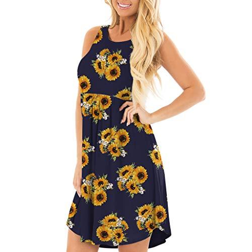 ReooLy Mujer Verano Sin Mangas Floral Impreso Bolsillos Sundress Casual Swing Dress(J-Armada,XXL)