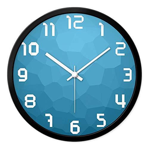 Preisvergleich Produktbild LZC Wanduhr Stille Wanduhr Frische Blaue Uhr Wohnzimmer Schlafzimmer Quarzuhr 12,  14,  16 Zoll Schule Klassenzimmer Dekoration Uhr Haus Dekoration (Color : A,  Size : 12 inches)