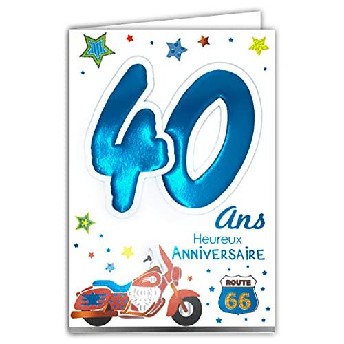 Age Mv 69-2031 Carte Anniversaire 40 ans Homme motif Moto Route 66 USA United States of America Etats-Unis Amérique Etoiles Stars