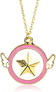 Necklace for Men Anime Series Jewelry Sakura toy version angel wing Sailor Moon Card Captor star Pendant Necklace For Cosplay Girl Birthday Gift