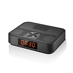 Small Bluetooth Speakers Portable Wireless, Alarm Clock with Wireless USB Charger for iPhone Samsung, Mini Bluetooth Speakers with FM Radio, 7 Hrs Play Time, Built-in Microphone, for Office Home Party