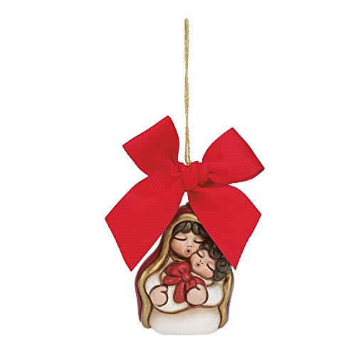 THUN ® - Addobbo Per Albero Di Natale Maria Mini Con Bambino - Ceramica - H 6 Cm - Linea I Classici