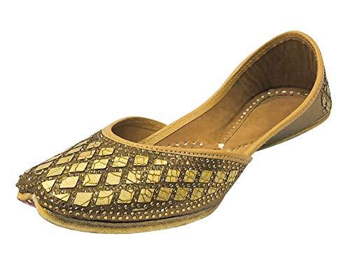 Damen-Sandalen/Sandalen für Brautschmuck, flach, Mojari, indische Sandalen, Hochzeits-Sandalen, handgefertigte Schuhe, Kupfer - Größe: 40.5 EU