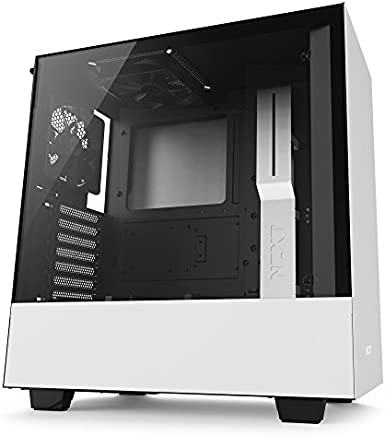 NZXT H500 – Compact ATX Mid-Tower Case – Tempered Glass Panel – All-Steel Construction – Enhanced Cable Management System – Water-Cooling Ready - White\Black