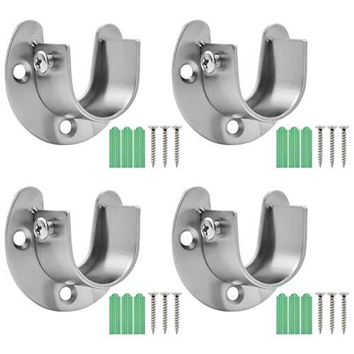 Chstarina 4 Piezas Soporte para Cortinas Adjustable Soporte Barra Armario con 12 Empulgueras y 12 Tubos de expansión para Barra de Cortina de Ducha de Armario