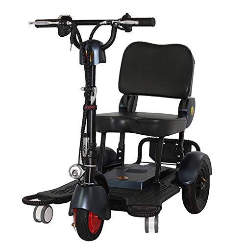 HUJUNG Mini Electric Tricycle Reisen Folding Roller für Erwachsene, Travel Scooter, 3-Rad,Schwarz