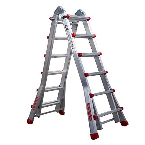 Nawa Escalera telescópica plegable profesional de aluminio 6+5 Peldaños, Carga máxima...