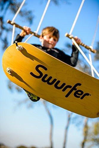 The Swurfer Original Outdoor Backyard Tree Swing with Unique Skateboard Seat Design, Durable Rope, and Adjustable Handles by Swurfer