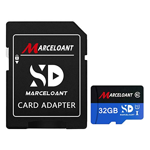 TF Card 32GB, Marceloant Memory Cards Class 10 TF Card with Adapter, High Speed Memory Card for Phone Camera Computer, Black/Blue, Standard Packaging