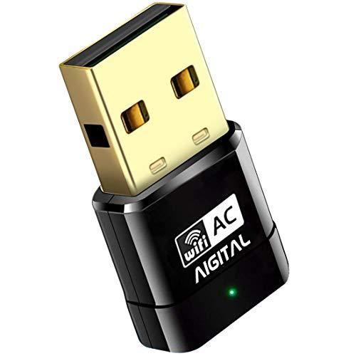Aigital WLAN Stick, AC600 Dual Band WLAN USB Adapter (Mini Größe Netzwerk Dongle Empfänger, 300Mbit/s 2,4 GHz,433Mbit/s 5GHz,802.11ac Einfache Installation) für PC Windows XP/7/8/10,Mac OS TV Box