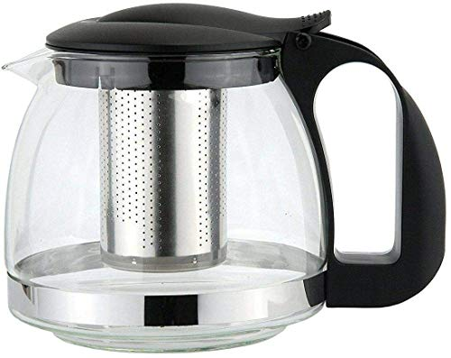 Ossian Glass Infusion Teapot – Stylish Modern Heat Resistant Glass Tea Pot with Stainless Steel Strainer and Cool Touch Handle for Infusing Herbal Fruit Loose Leaf Tea Home Kitchen (1100ml)