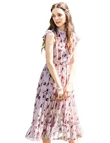 Artka Women's Floral Chiffon Mandarin Collar Cocktail Dress