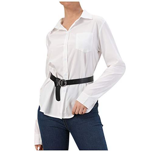 Longra Dames-overhemd met reverskraag, eenvoudig, voor vrouwen, witte bandeaut, met riem, lange mouwen, voor dames, modieus, avondjurk, casual, blouse, button