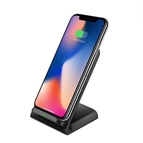 UNISOPH Cargador inalámbrico, 9V 1.3A 10W Cargador de inducción Soporte de para iPhone 8/8 Plus/X Galaxy S6 / S7 / S8 Note 5/7 LGD1 LG G2 / G3 / G10 Nexus 4/5/6, Negro