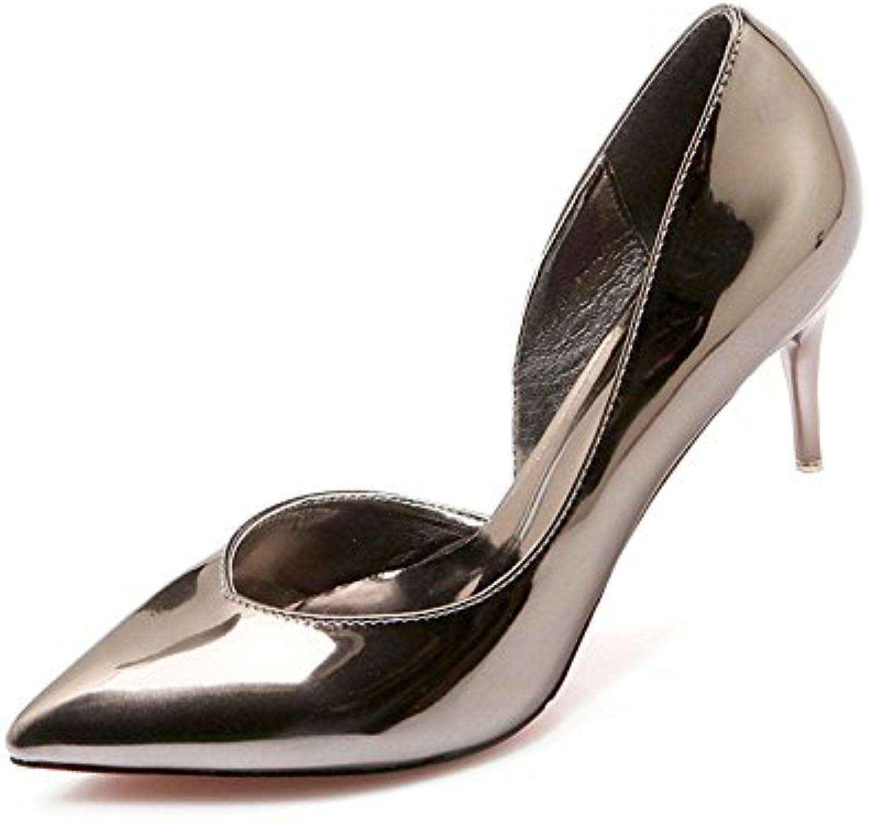Xue Qiqi high-heel Schuhe Tipp feine mit Licht - bemalte bemalte bemalte Leder wilden Feen Schuhe silber Schuh, 35, Gewehr Farbe 6 cm  fadc81