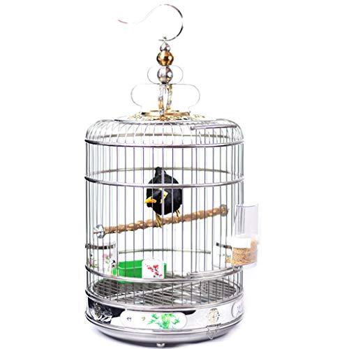 LSWUDU Roestvrij Staal Vogelkooi Kleur Schilderij Versie Van Bodem Verhoging Vogelkooi Lijster Broeder Papegaai Vogelkooi Vet Staal Ring Ronde Kooi Kan Bad, 45