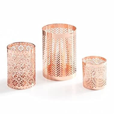Danya B. Set of 3 Rose Gold Filigree Hurricanes