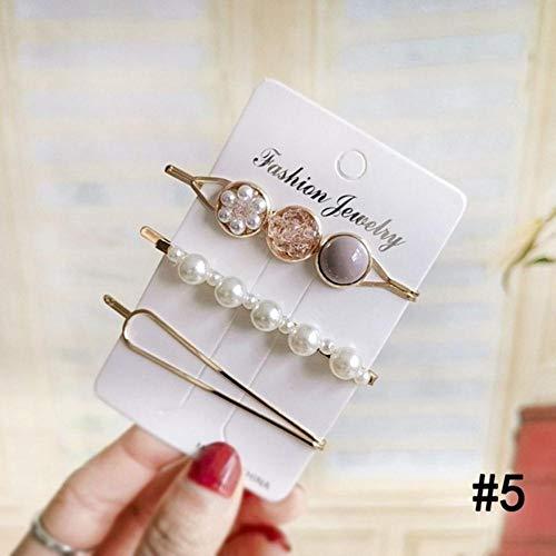 3-delig/set Koreaanse parels kristal metaal haarspeld haarspeld meisje kleurrijke parels haarstyling gereedschap sieraden 5