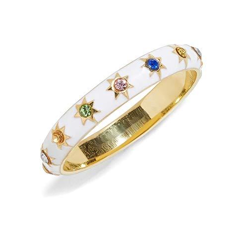 Birthstone ring for meisje vrouwen verjaardagscadeau AAA + kleurrijke zirconia eenvoudige geometrische verlovingsringen (Main Stone Color : White, Metal Color : Platinum Plated)