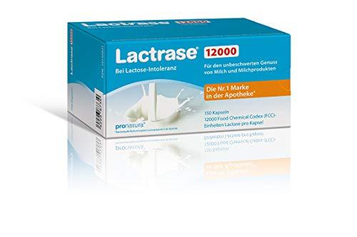 Lactrase 12000 Kapseln bei Lactoseintoleranz – 150 Laktase-Kapseln für den Genuss von Milch & Milchprodukten bei Laktoseunverträglichkeit; Vegan…