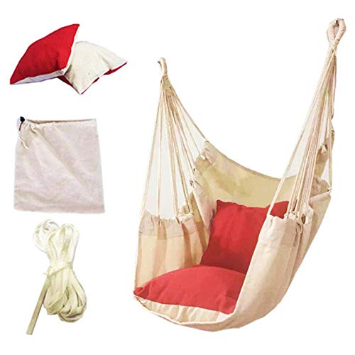 PPLAS 120kg Hammock Garden Hang Lazy Chair Swinging Indoor Outdoor Furniture Hanging Rope Chair Swing Chair Seat bed Travel Camping (Color : Red)