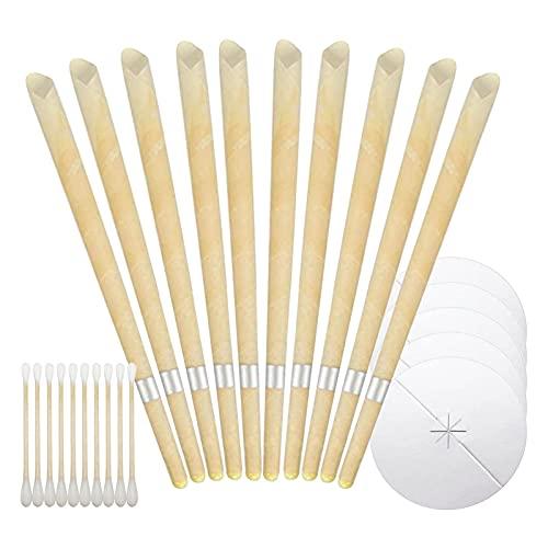 Balamii Ohrenschmalz-Entfernerkerzen,Natürliche Bienenwachs Ohrkerzen,Ohrenschmalzentfernung zur Gesunde Pflege,Ohr Wachs Kerzen mit Schutzscheiben,Wird zum Beruhigen und Entspannen verwendet