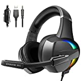 Beexcellent Gaming Headset, PS4 Xbox One Headset with Stereo Bass Surround Sound, Gaming Headphones with Noise Cancelling Mic for PS4 Xbox One PC Laptop Mac - RGB LED Light