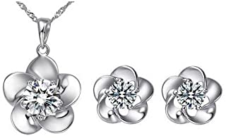 Yellow Chimes Moxie Collection ? Delightful Floral ? Silver Crystal Pendant Set for Girls and Women…