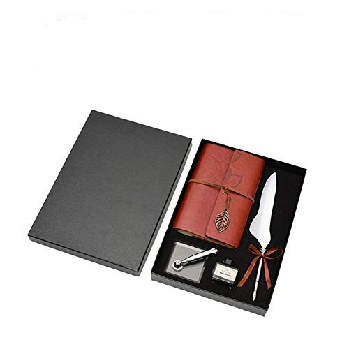 Retro Leder Notizbuch mit Feder Dip Pen, Retro Reisende Notebook Vintage Antik Füllfederhalter Ink Bottle Set, Briefpapier Geschenkbox(Weiß)