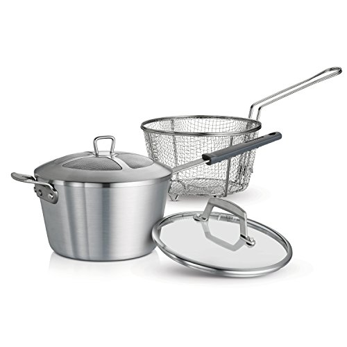 Tramontina 80114/512DS Professional Covered Deep Fryer, 5.5 Qt, Satin Finish, Made in USA