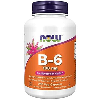 Supplements, Vitamin B-6 (Pyridoxine HCl) 100 mg, Cardiovascular Health*, 250 Capsules